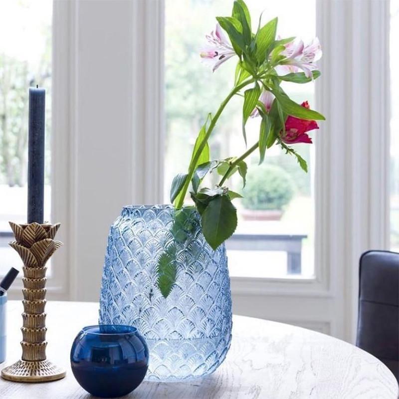 Vase art déco bleu en verre - Ava