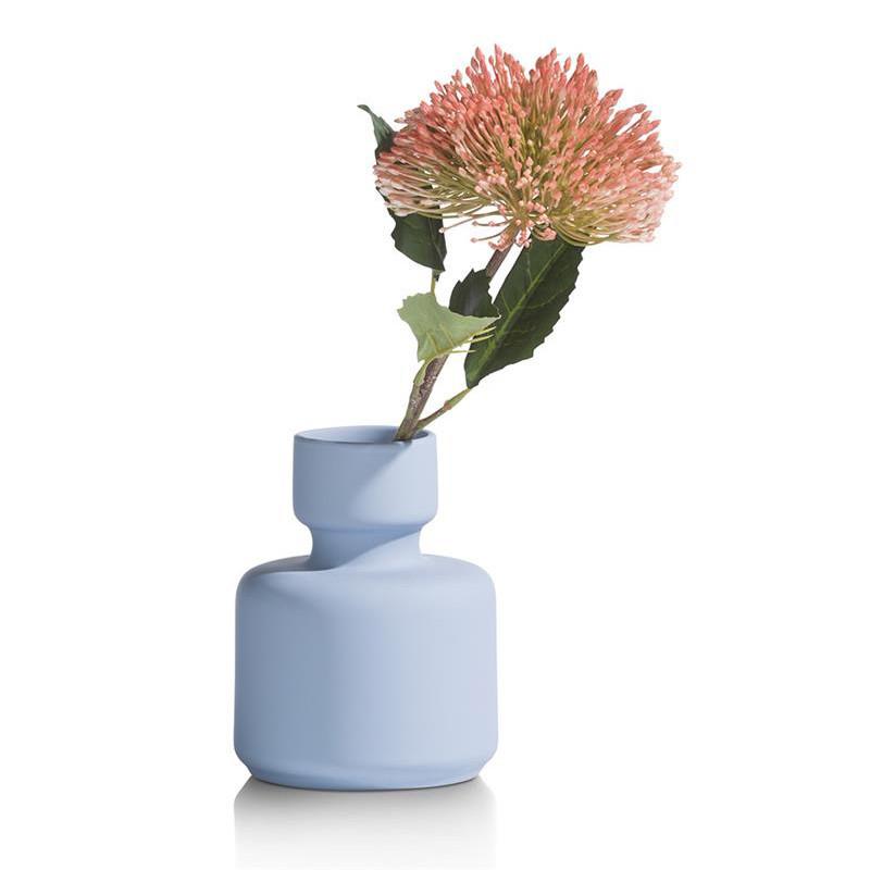 Vase bleu ciel design en céramique H16cm - Kato