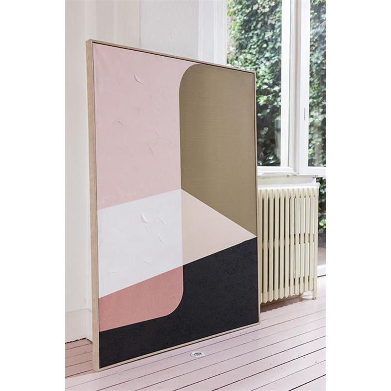 Tableau peinture abstraite rose et beige - Versal