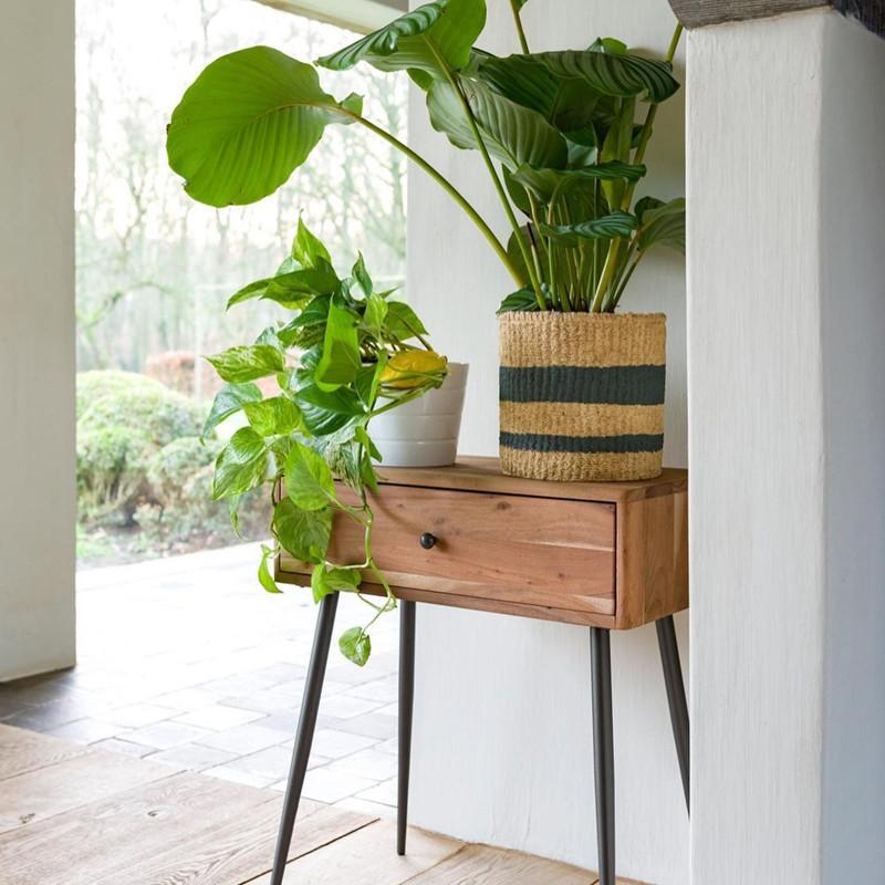 Table de chevet en bois avec tiroir et pieds métal - Noa