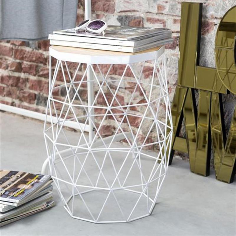 Bout de canapé métal blanc géométrique - Phoenix