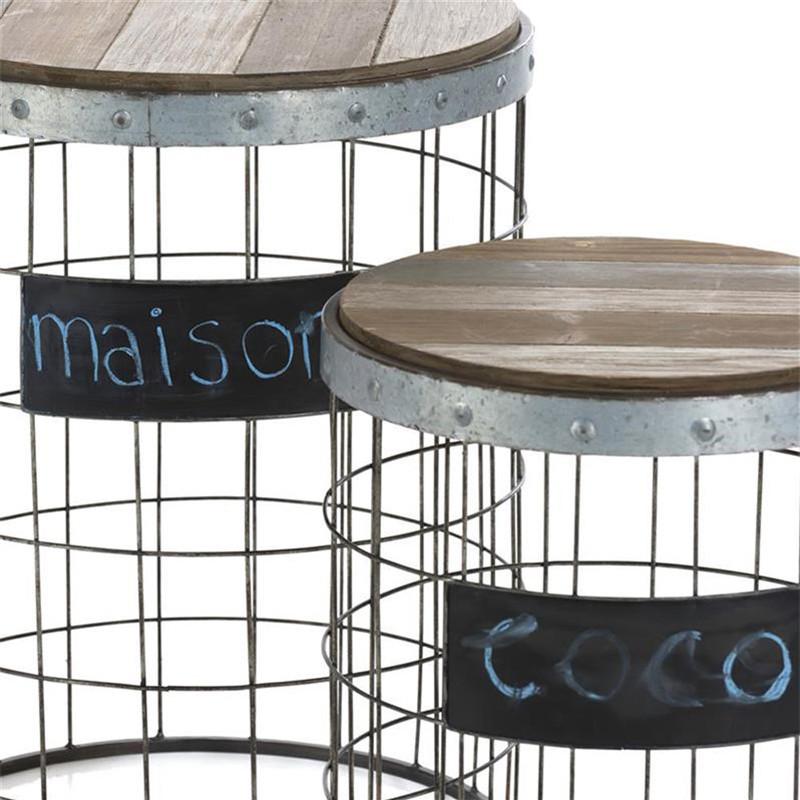 Table gigogne industriel vintage en métal et bois - Nora
