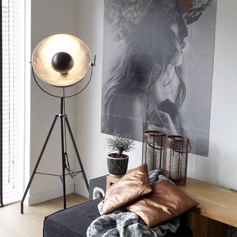 Lampadaire noir trepied cinéma - Sun