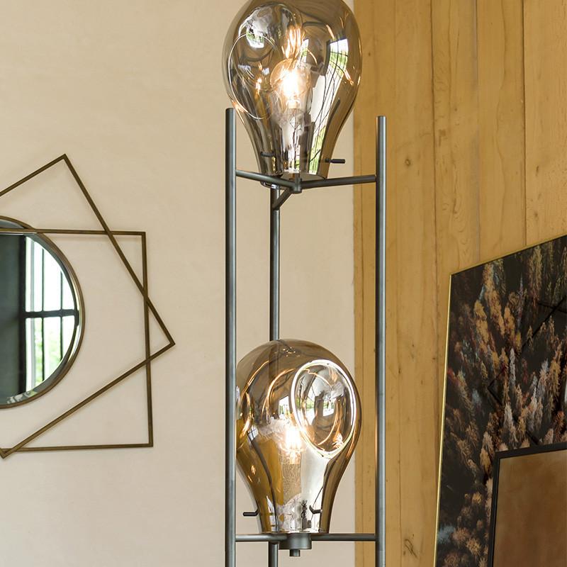 Lampadaire salon design noir en verre fumé - Charlie