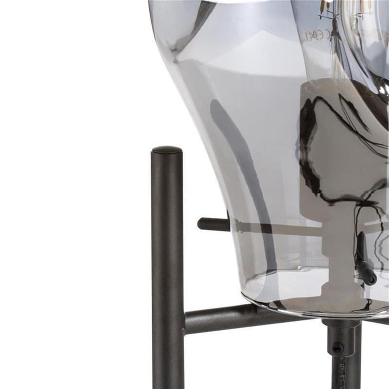 Lampe de salon design noire verre fumé - Charlie