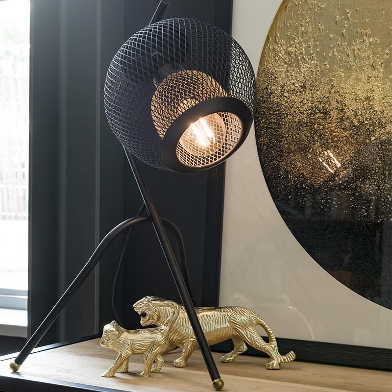 Lampe industrielle en métal noir sur trépied - Marco
