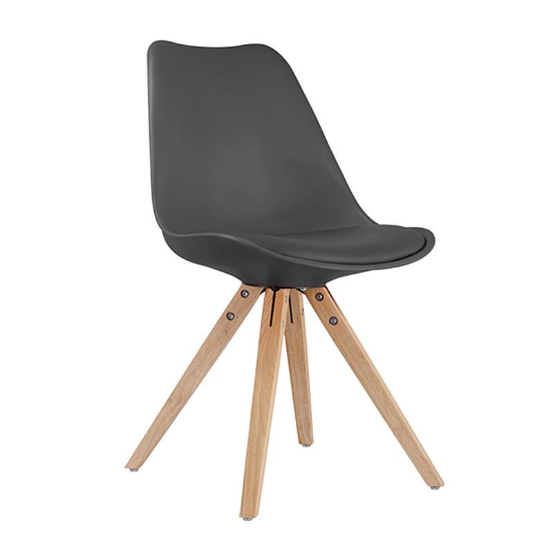 Chaise noire scandinave pieds bois - Ella