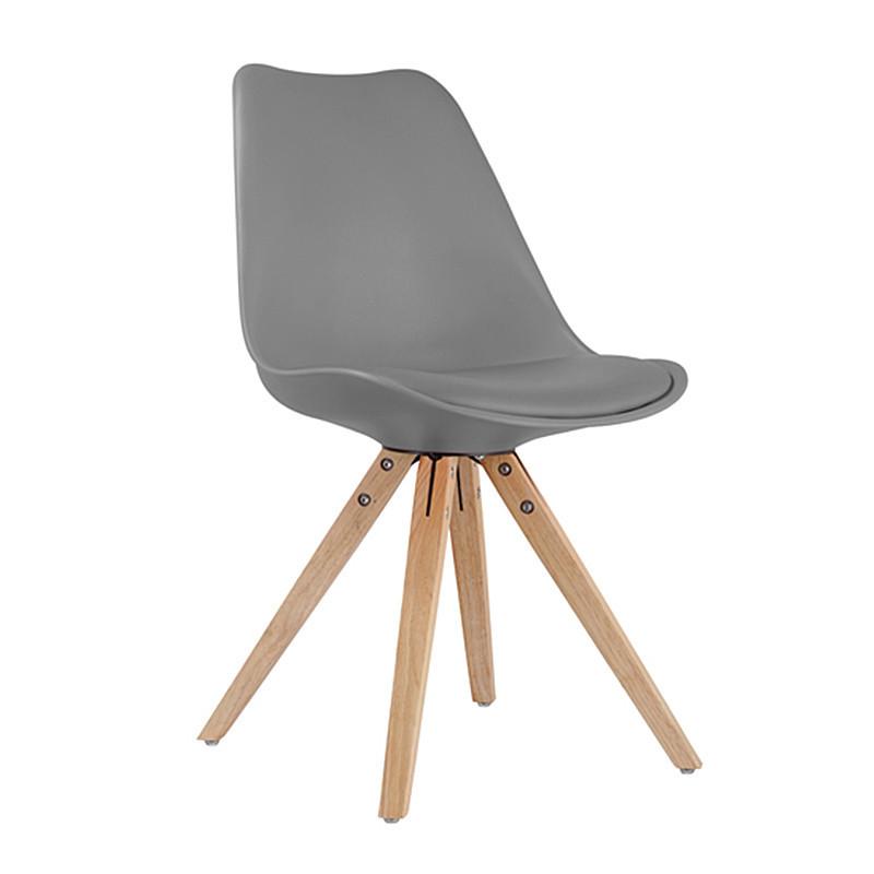 Chaise scandinave grise pieds bois - Ella