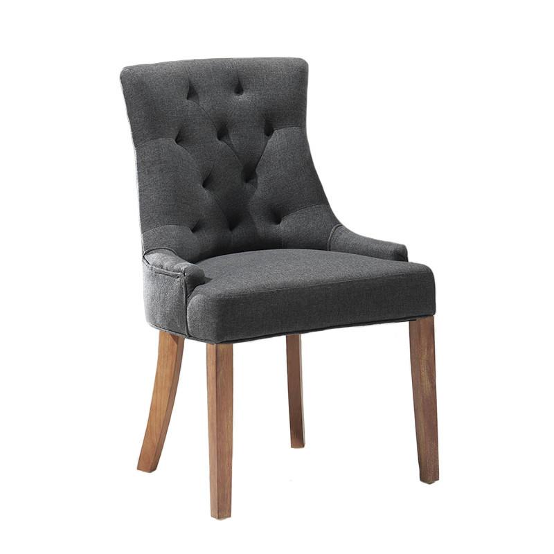 Chaise capitonnée tissu gris - Roméo