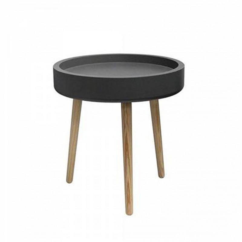 Table d'appoint grise et bois - Skidy