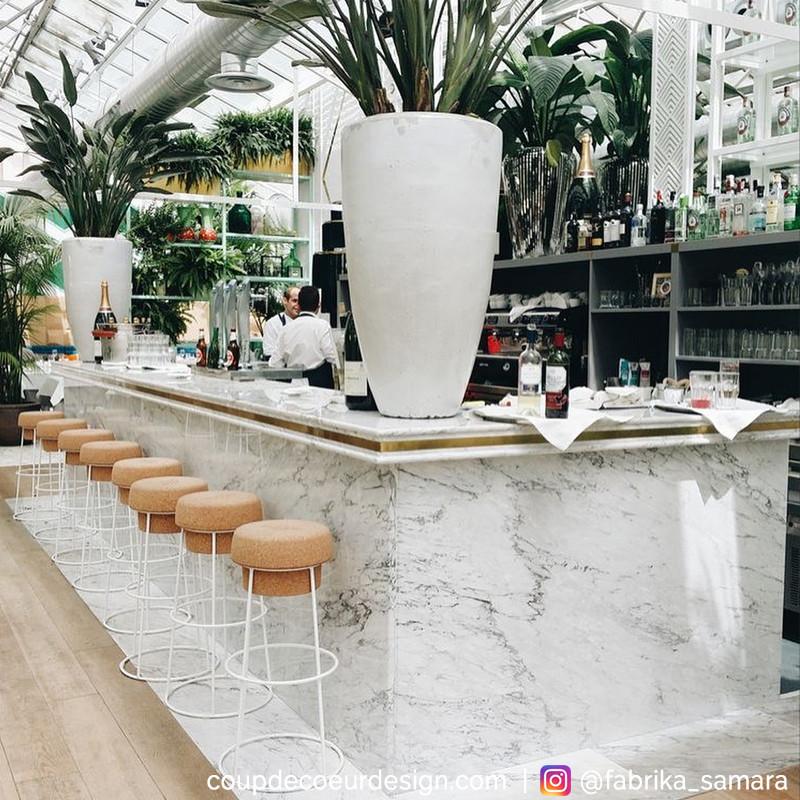 Tabouret de bar design bouchon de liège et métal blanc  - Champagne