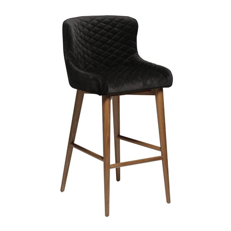 Tabouret de bar confortable noir et bois - Velco