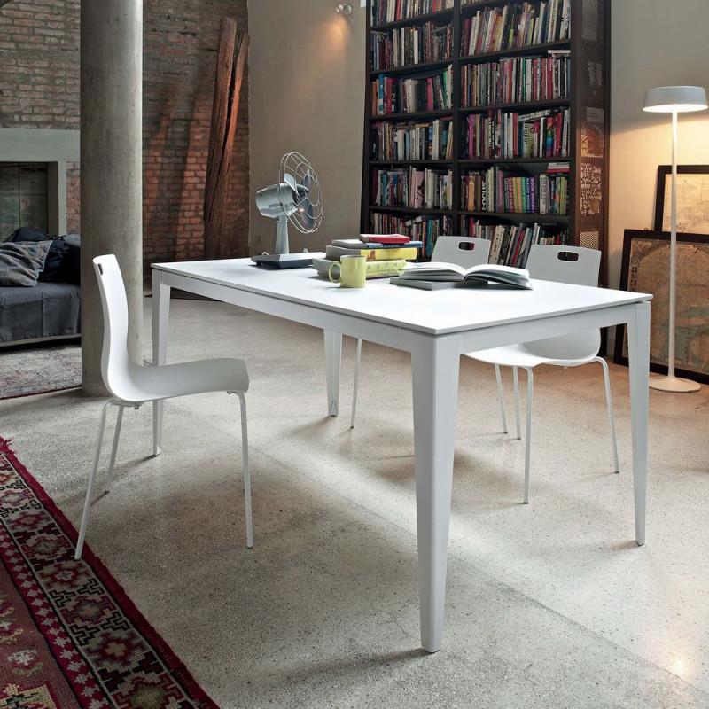 Table salle à manger blanche extensible design - Dom