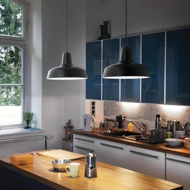 Suspension luminaire style industriel métal noir - Aliot