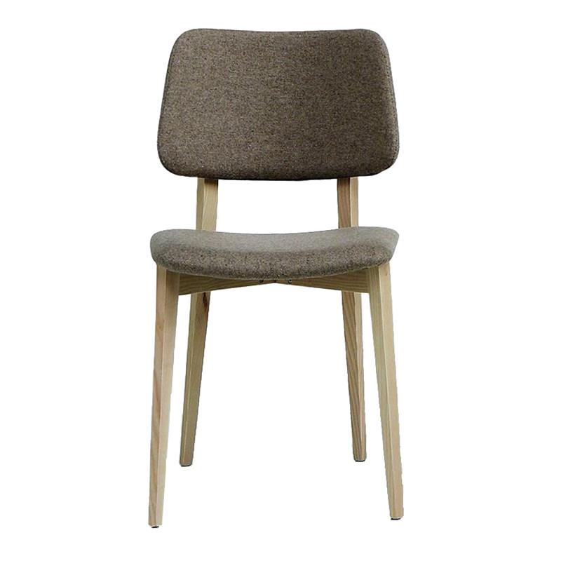 Chaise design vintage en tissu taupe pieds bois Midj - Joe