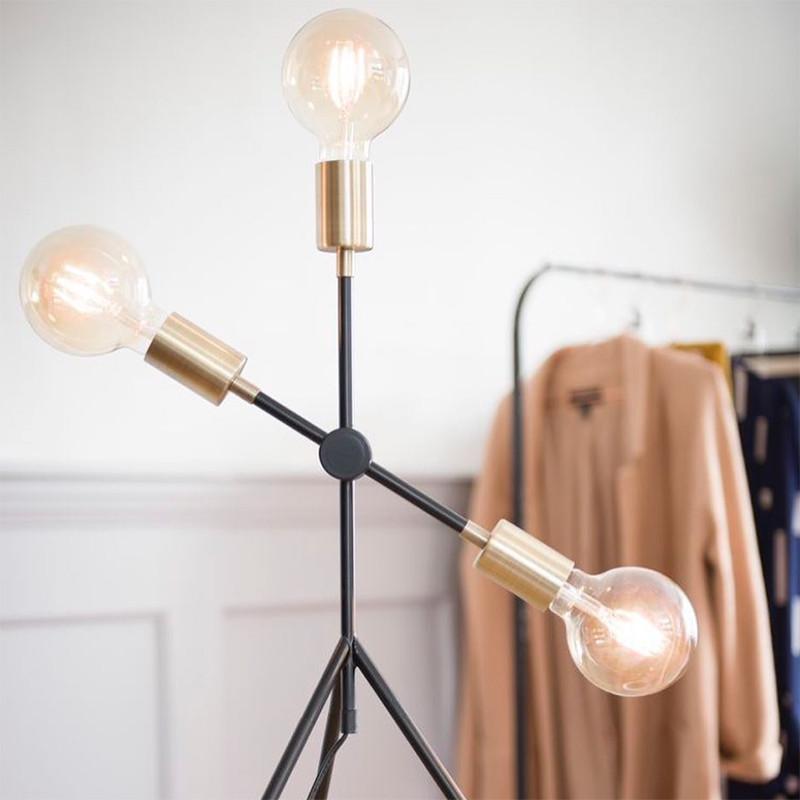 Lampe design sur pied métal noir - Mandy