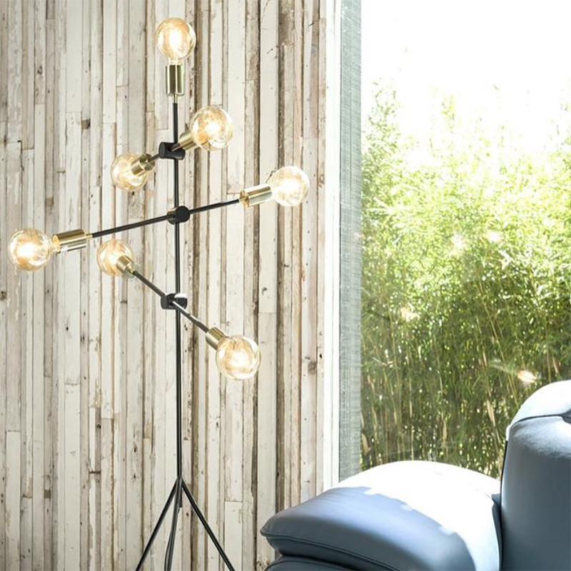 Lampadaire salon design métal noir ampoules déco - Mandy