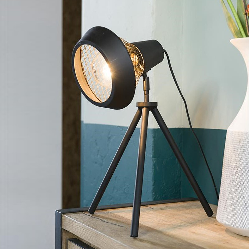 Lampe style industriel en métal noir sur trépied - Victor