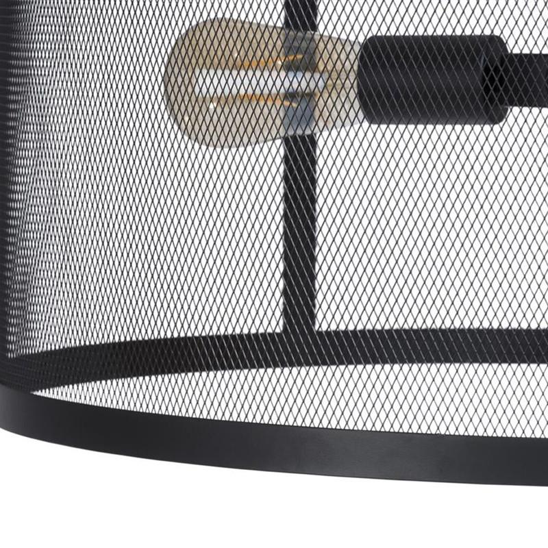 Lustre métal noir industriel - Fan