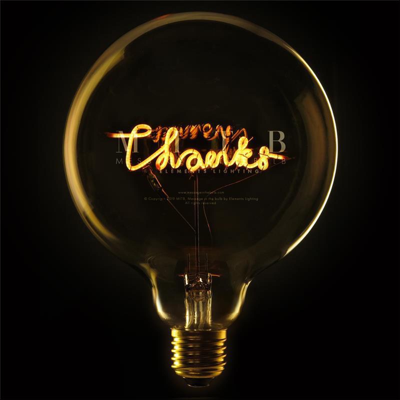Ampoule design déco message - Thanks