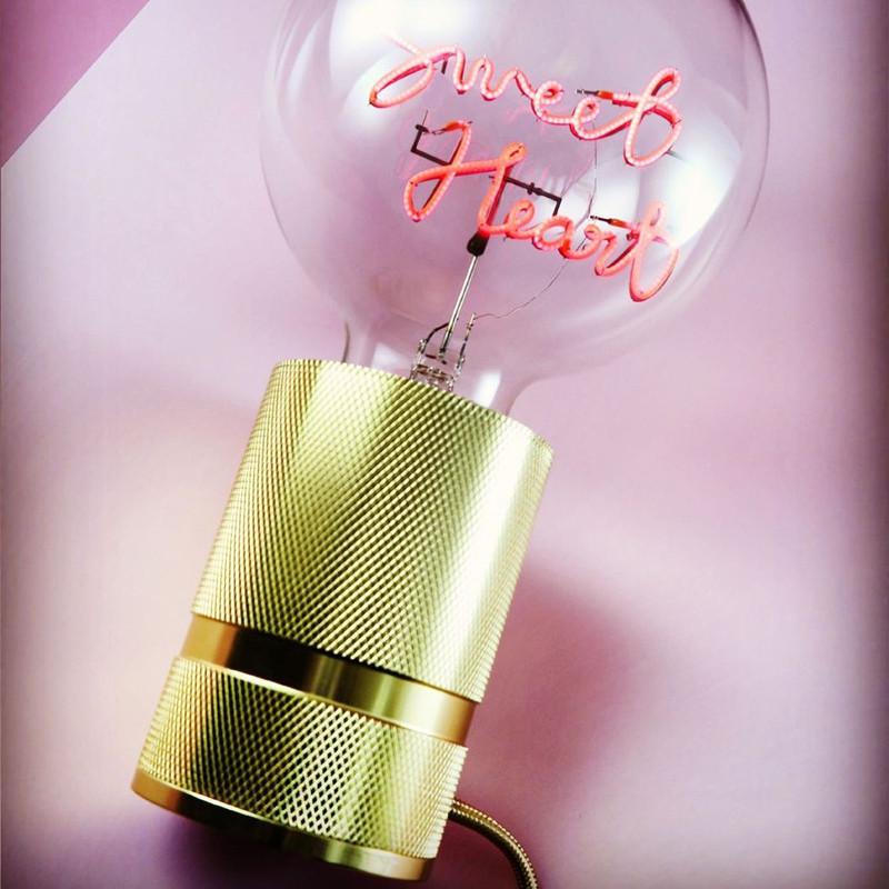 Socle doré pour ampoule décorative H 10cm - Kis