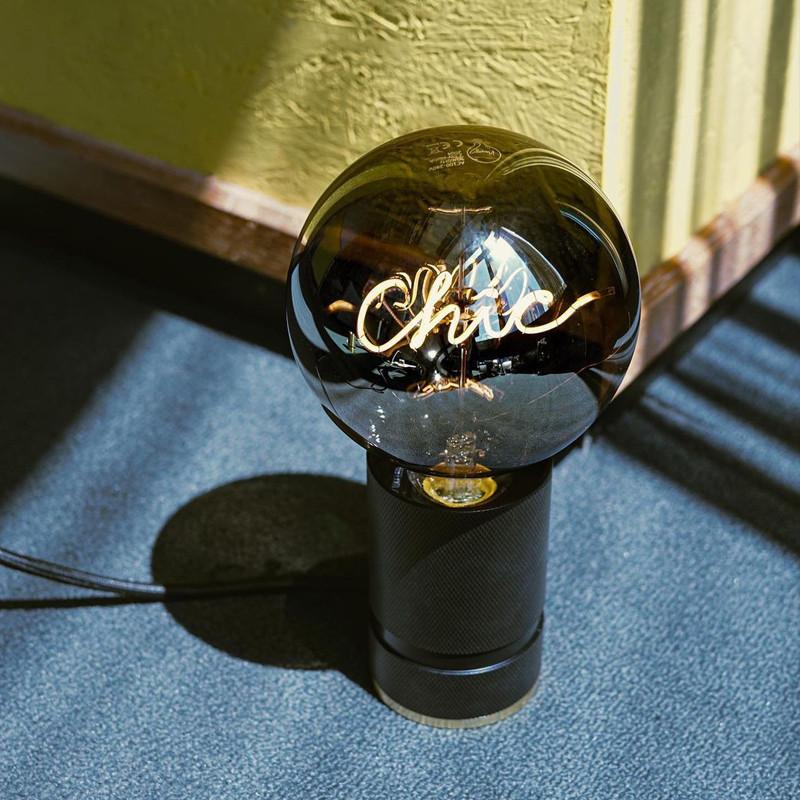 Socle noir pour ampoule décorative H 10cm - Kis