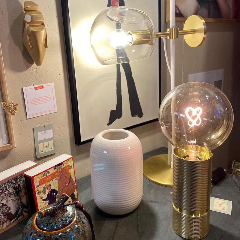 Socle doré pour ampoule décorative H 15cm - Kis