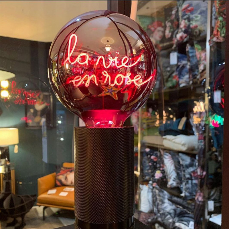Socle noir pour ampoule décorative H 15cm - Kis