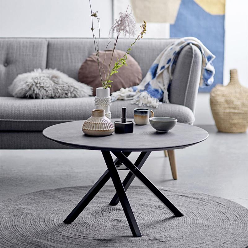 Table basse ronde noire design en bois et metal Bloomingville - Zire