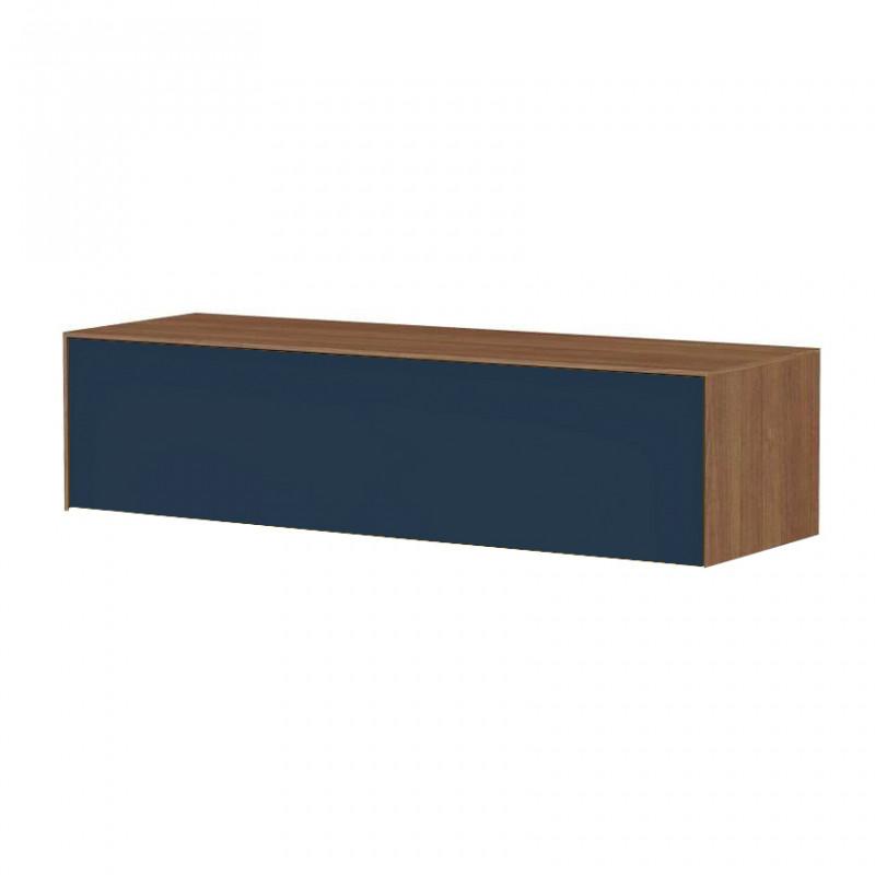 Meuble TV suspendu bleu foncé et bois noyer - Stone Blue