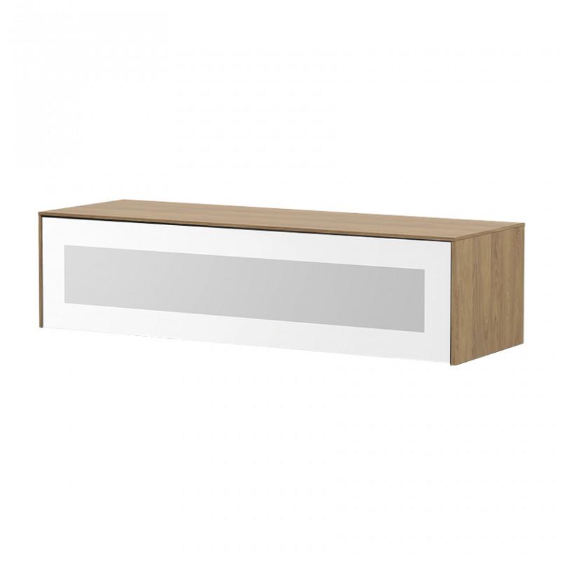 Meuble TV suspendu bois naturel et porte en verre blanc infrarouge 120cm - Nature
