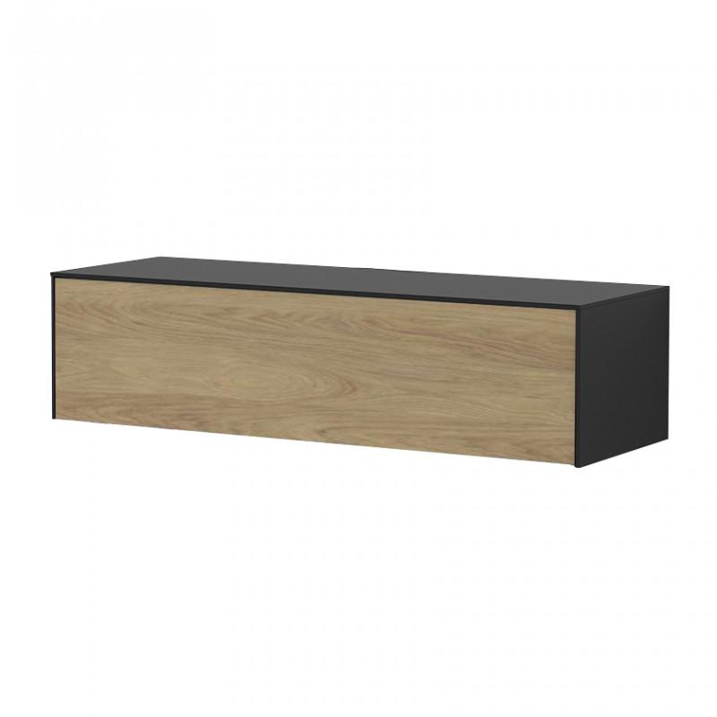 Meuble TV suspendu bois et noir 120cm - Loft