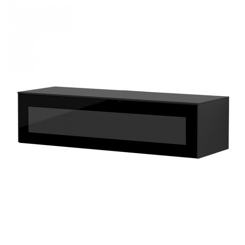 Meuble TV suspendu noir porte infrarouge 120cm - Loft