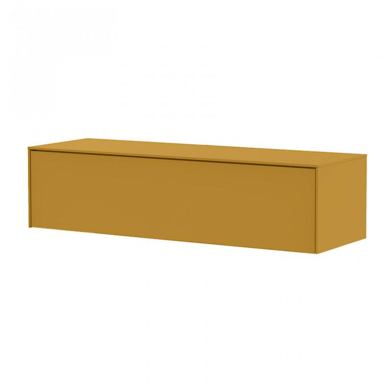 Meuble TV suspendu jaune design 120cm - Honey