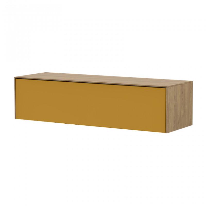 Meuble TV suspendu jaune et bois naturel 120cm - Honey
