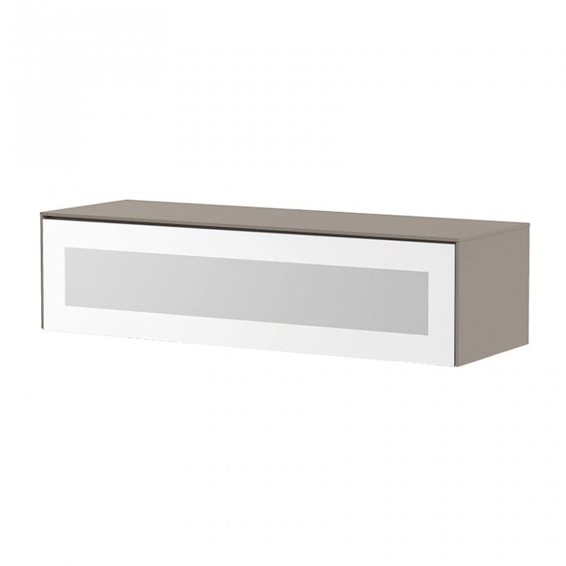 Meuble TV suspendu taupe et blanc porte infrarouge 120cm - Toile