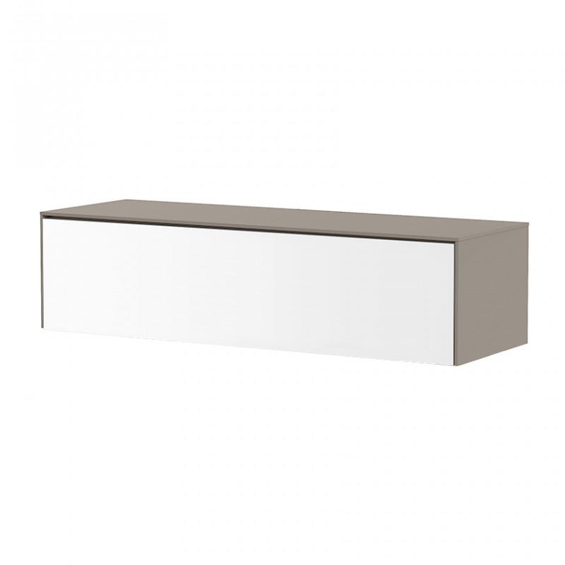 Meuble TV suspendu blanc et taupe 120cm - Toile