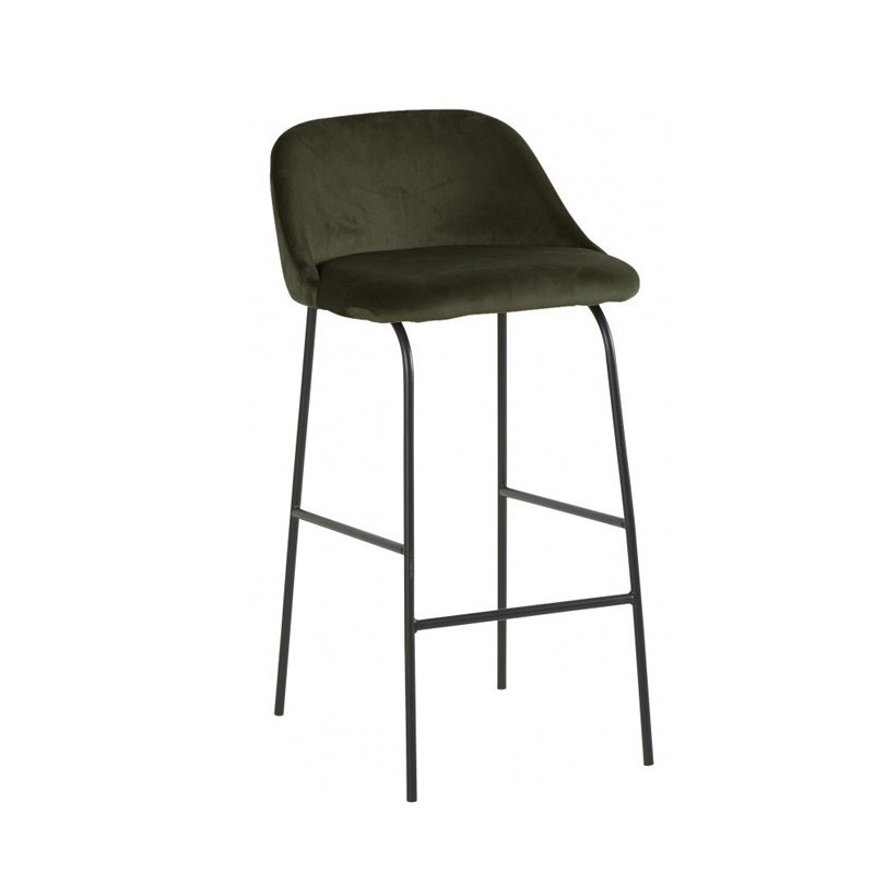 Tabouret de bar velours vert kaki design - Glad