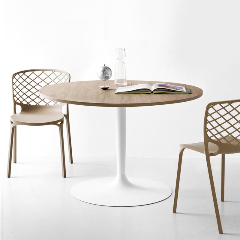 Table ronde bois et pied central blanc Connubia - Comet