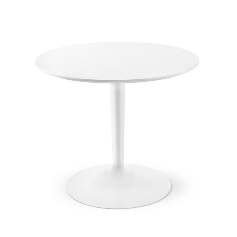 Table ronde blanche design pied central Connubia - Planet