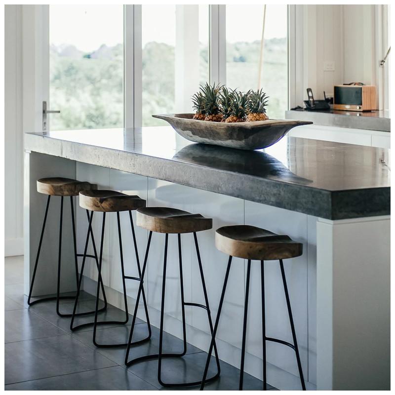 Tabouret de bar bois et métal design Bloomingville - Vany