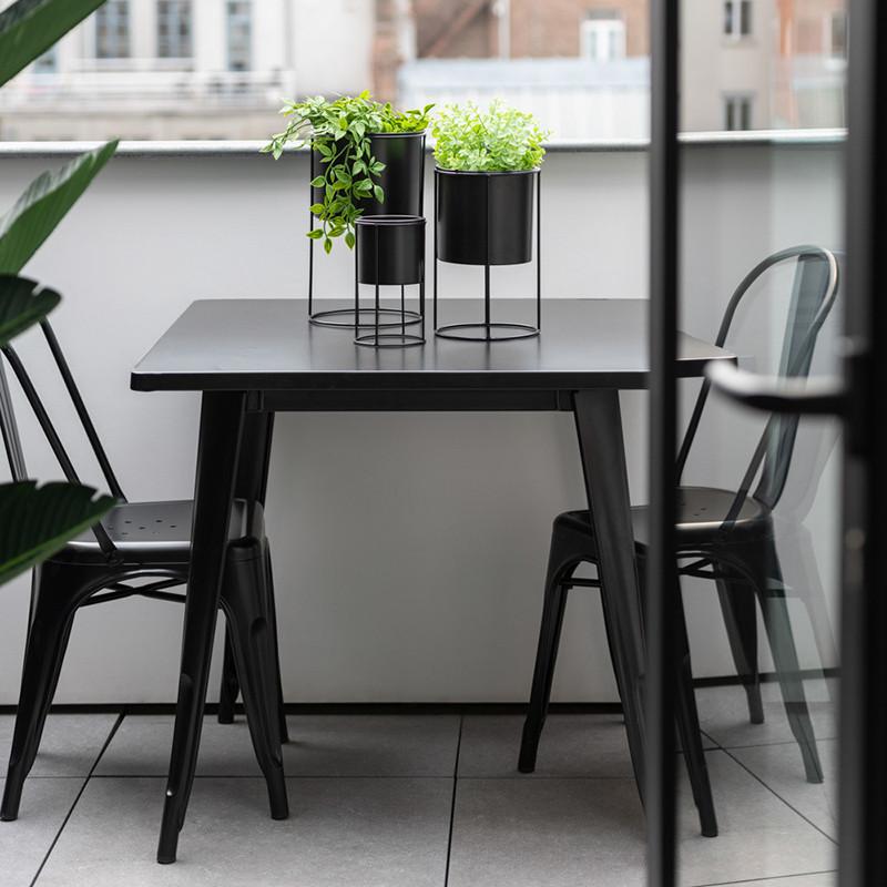Table bistrot métal noir carrée - Coff