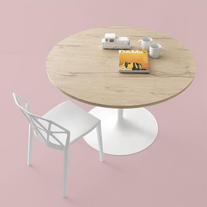 Table ronde bois et pied central blanc Connubia - Planet