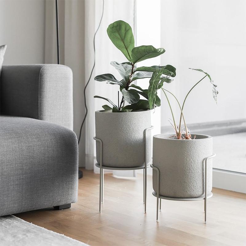 Pots de fleurs sur pieds métal blanc design - Perry