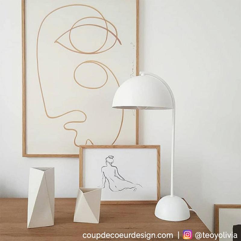 Lampe blanche design dôme Hubsch - Laco