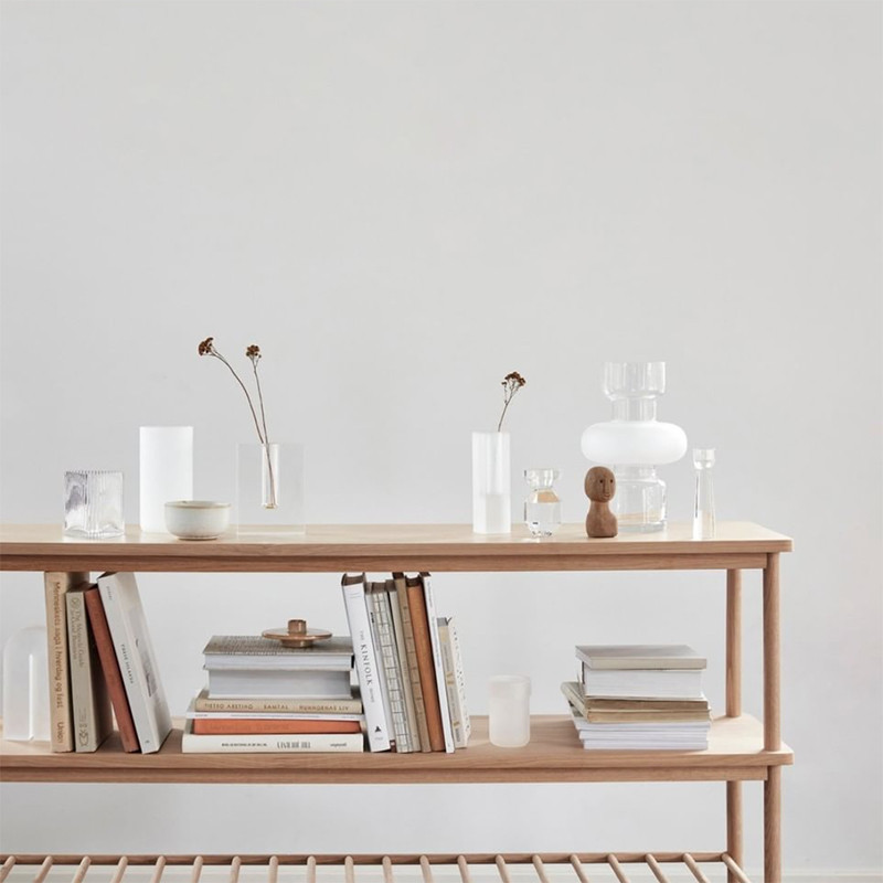 Console meuble scandinave en bois 2 étagères - Sine