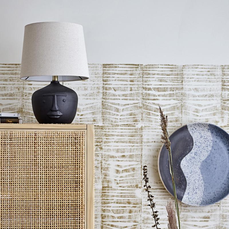 Lampe noire design visage style arty - Matheo