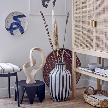 Grand vase déco à poser au sol noir et blanc Bloomingville - Schila