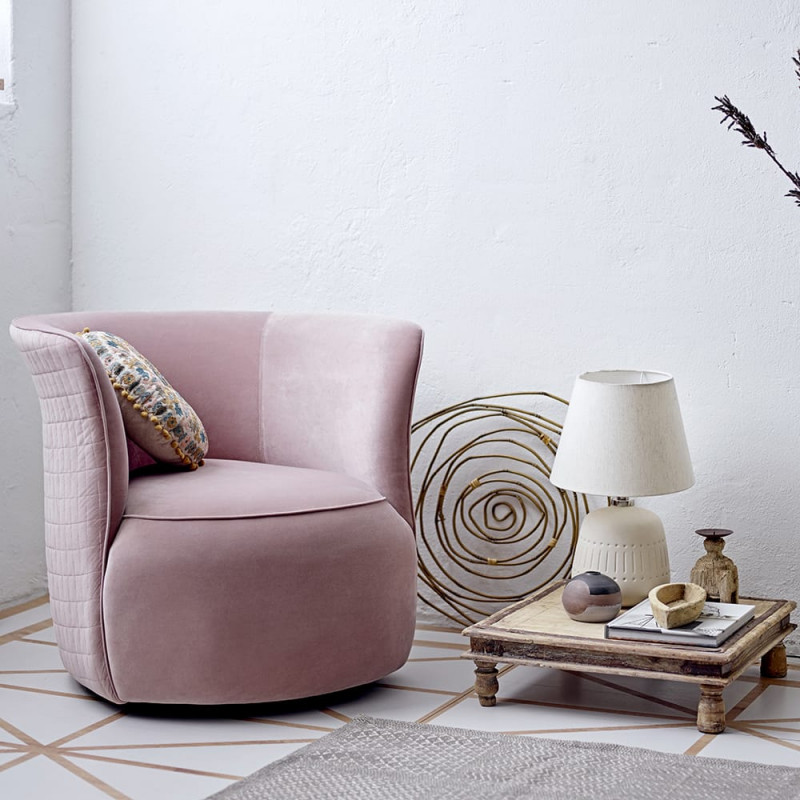Fauteuil velours rose design pivotant Bloomingville - Marini