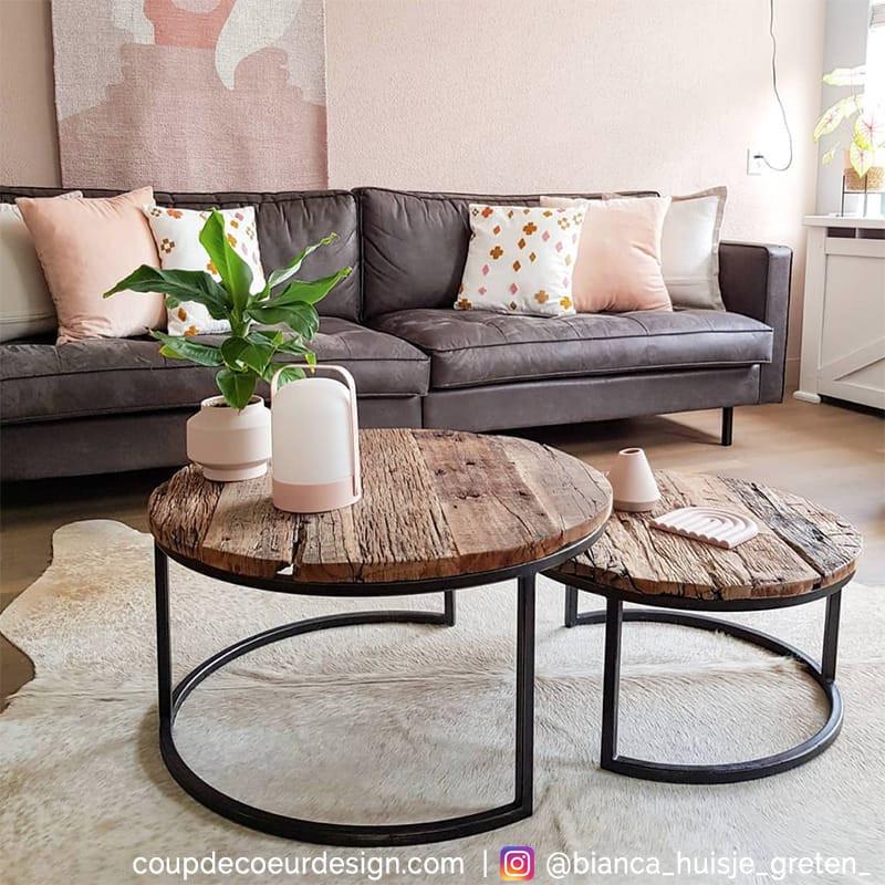 Table basse gigogne bois brut style industriel - Drift